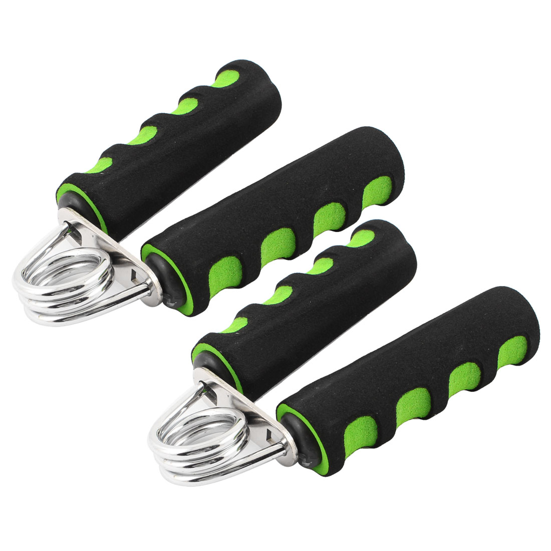 2 Pcs Black Green Foam Coated Nonslip Handle Arm Strength Hand Grip Grippers