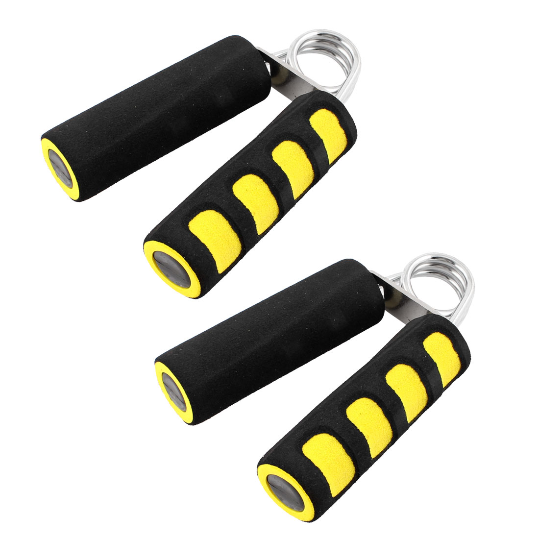 2 Pcs Black Yellow Foam Coated Nonslip Handle Arm Strength Hand Grip Grippers