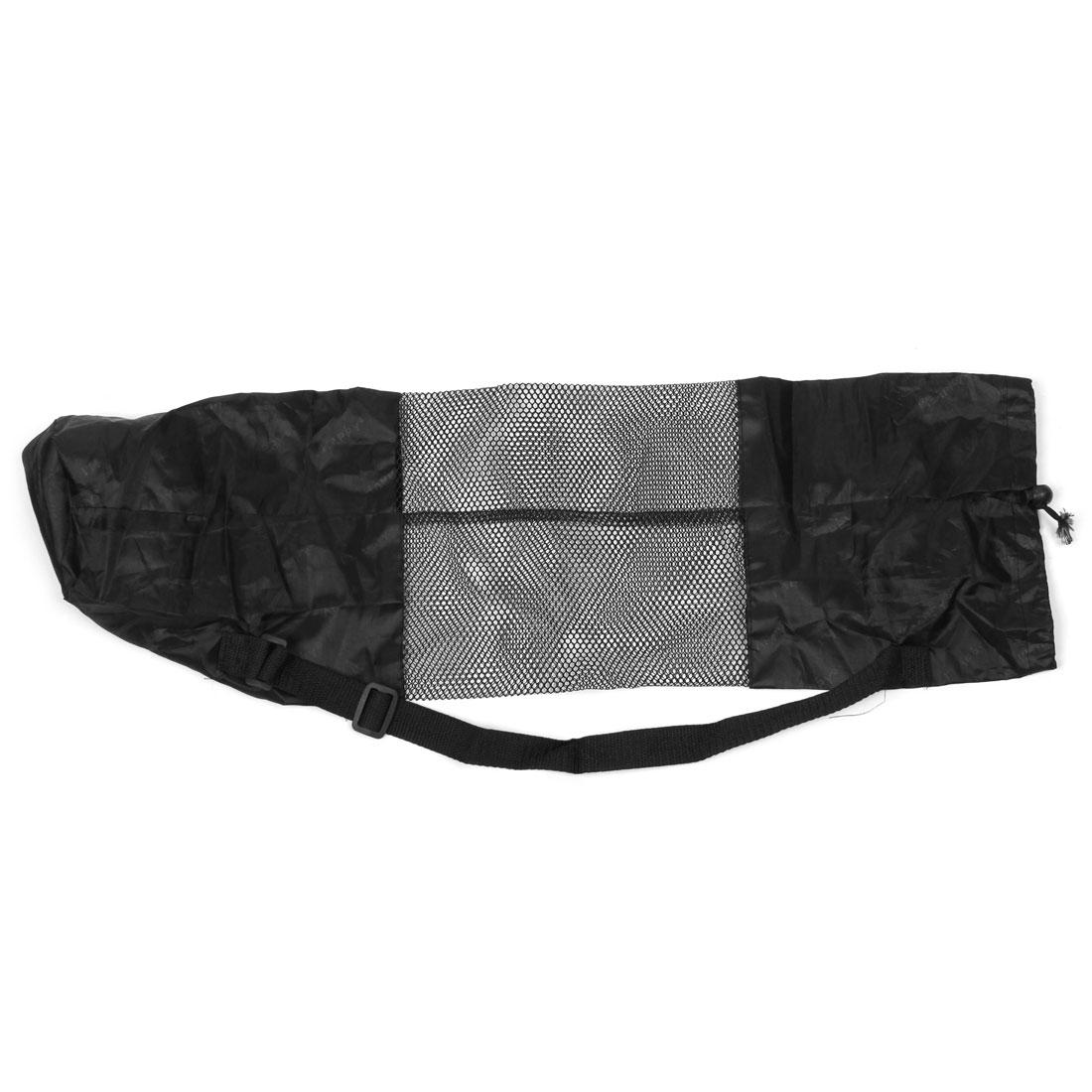 Unisex Nylon Mesh Washable Adjustable Strap Yoga Mat Carry Bag Holder Black