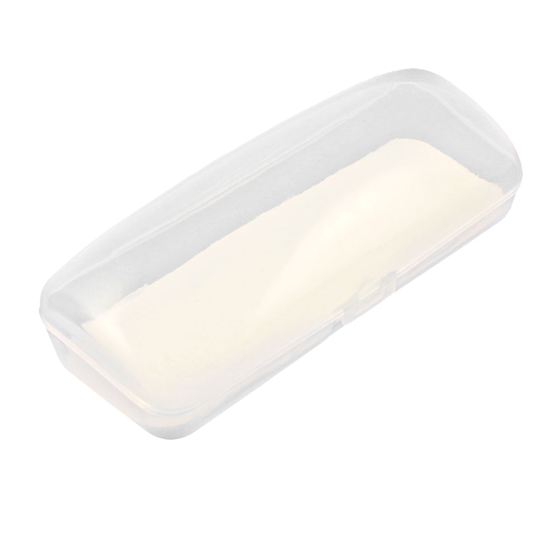 Clear White Plastic Rectangle Shaped Eyeglasses Case Box Holder
