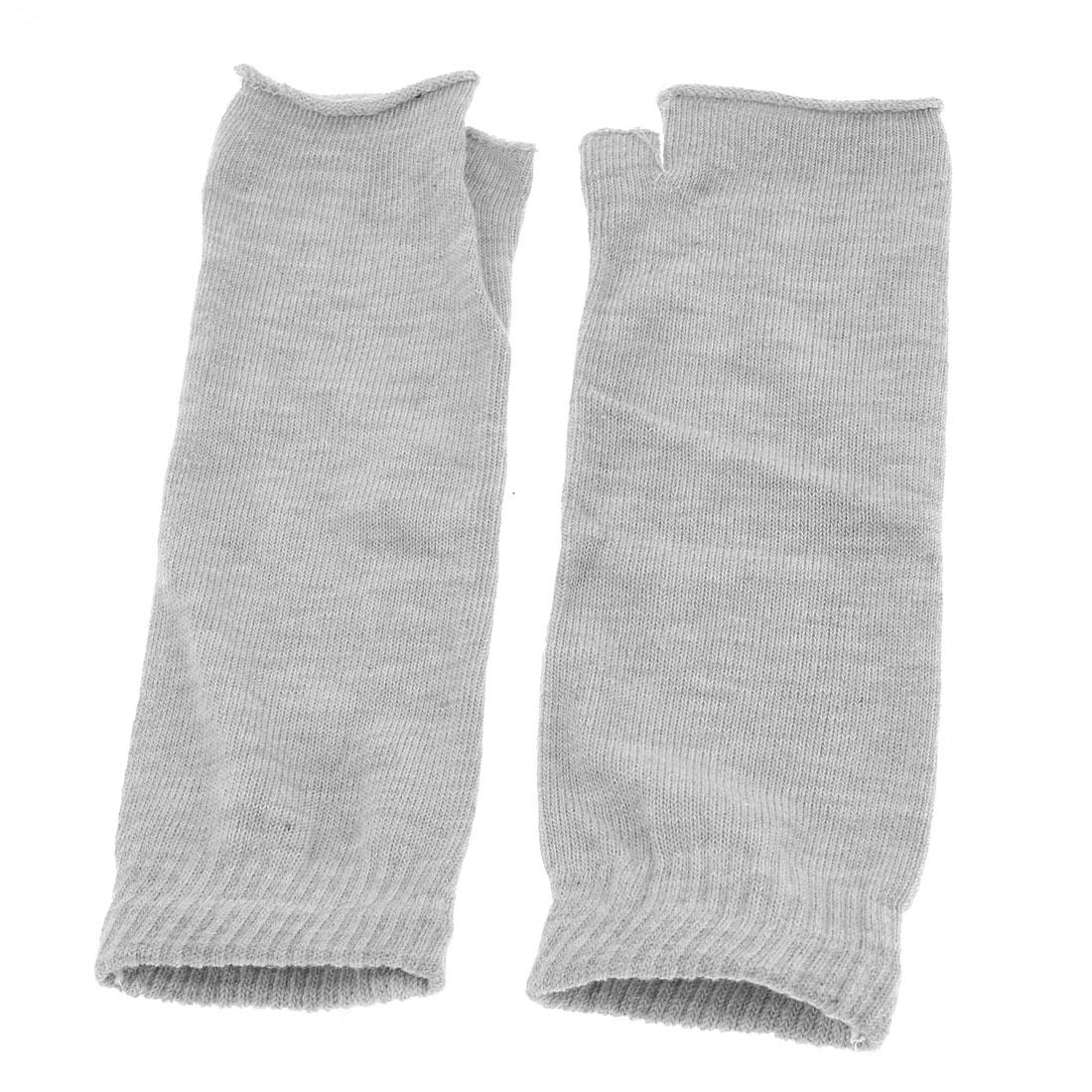 Gray Knitted Elastic Fingerless Winter Gloves for Woman