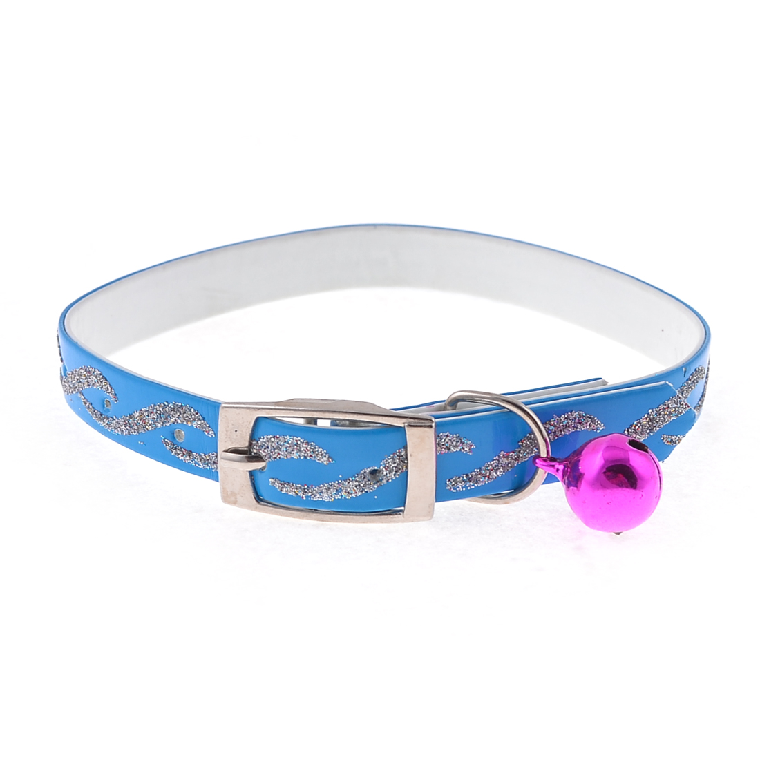 "0.39"" Wide Jingle Bell Glitter Powder Detail Adjustable Pet Puppy Collar Blue"