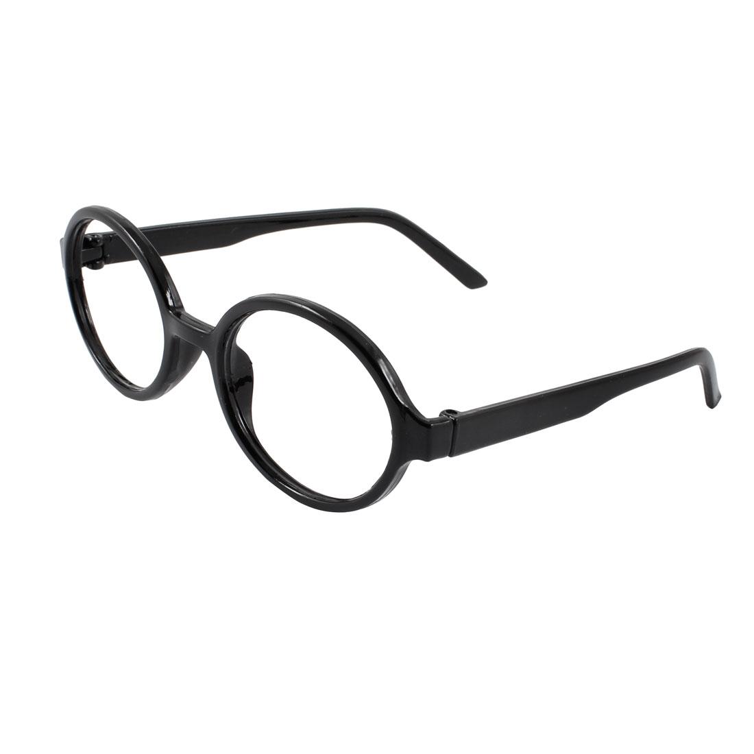 Black Plastic Full Rimmed Ellipse Spectacles Glasses Eyeglasses Frame