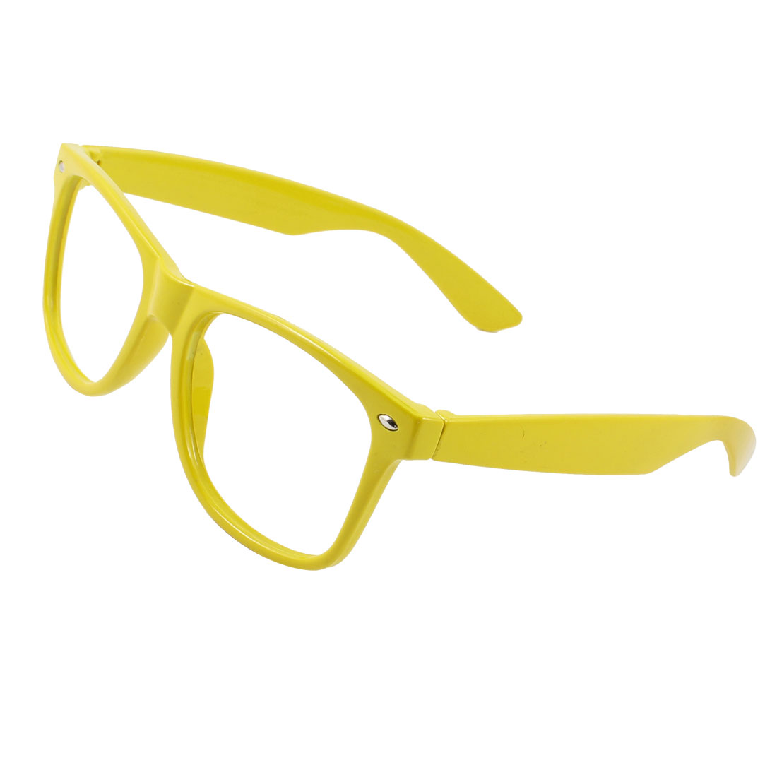 Single Bridge Rimmed No Lens Teardrop Glasses Eyeglasses Frame Yellow