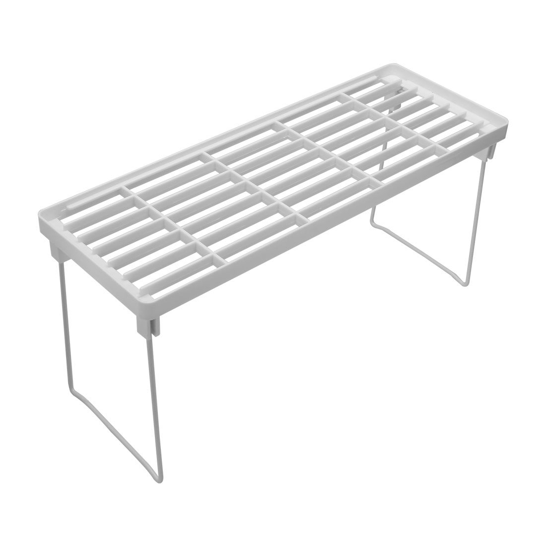 White Plastic Rectangle Net Design Mini Foldable Shelf Storage Rack Organizer