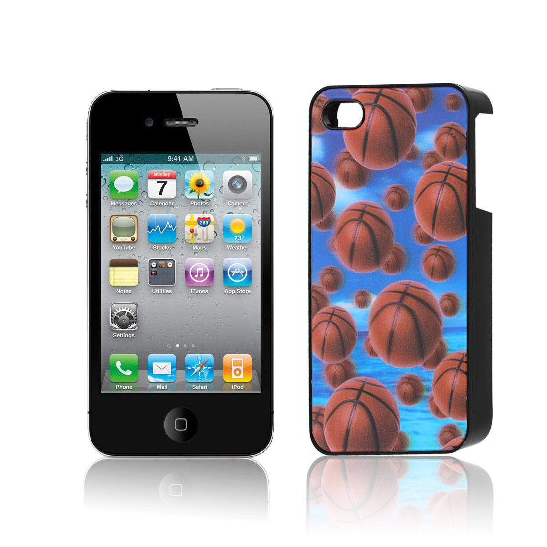 Black Red Hard Platic 3D Basketball Pattern Back Case Cover for iPhone 4 4S 4G