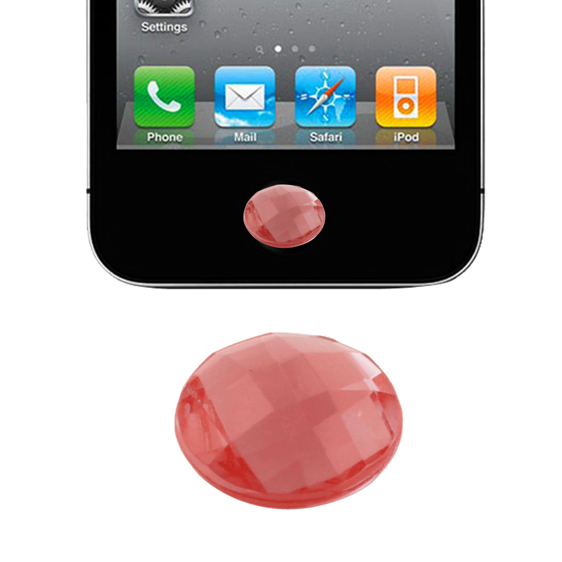 Red Plastic Crystal Round Home Button Sticker for Phone Touch