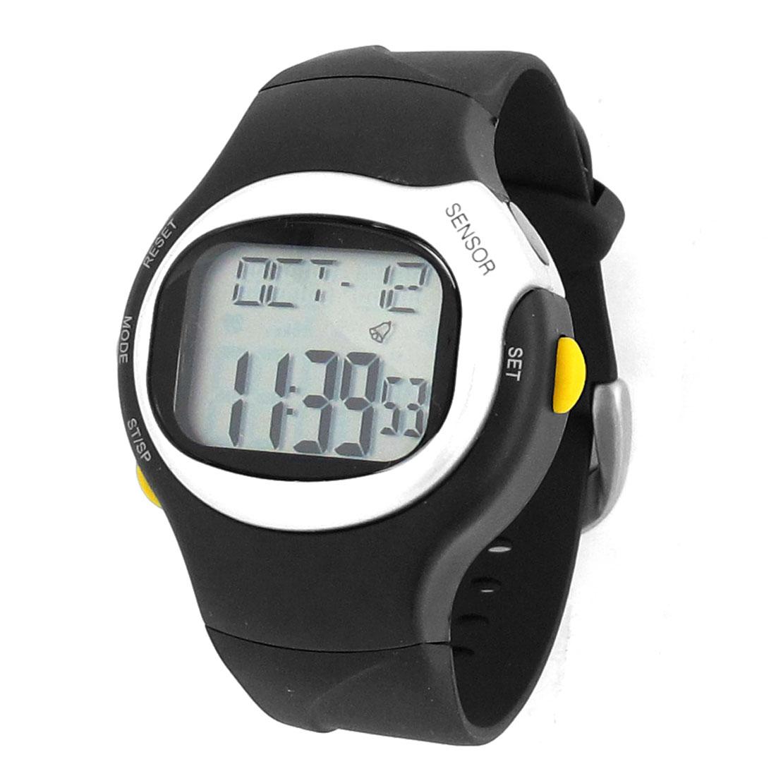 Adjustable Band Round Case Pulsometer Stopwatch Alarm Clock Sports Watch Black