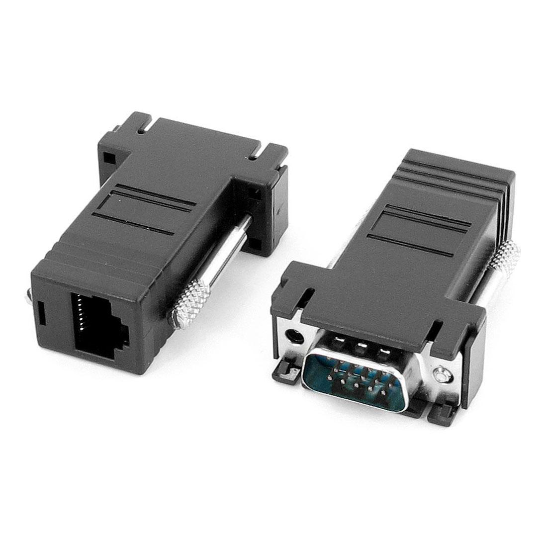HD 15 Pin Male to RJ45 Female Network Adapter Black 2 Pcs