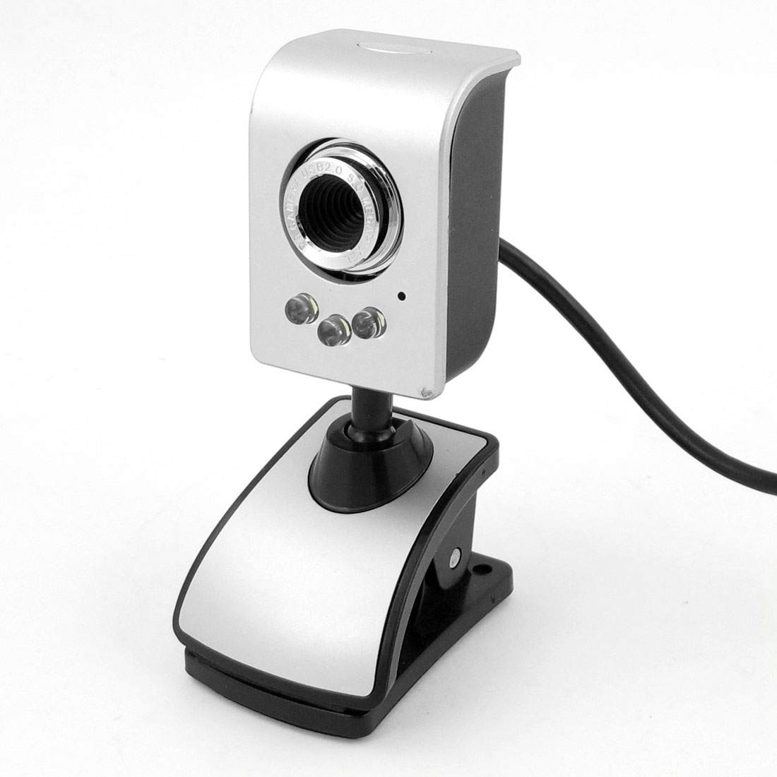 Video Chat 1.3M Pixels 3-LED USB Clip Web Cam Camera w Microphone for Laptop PC