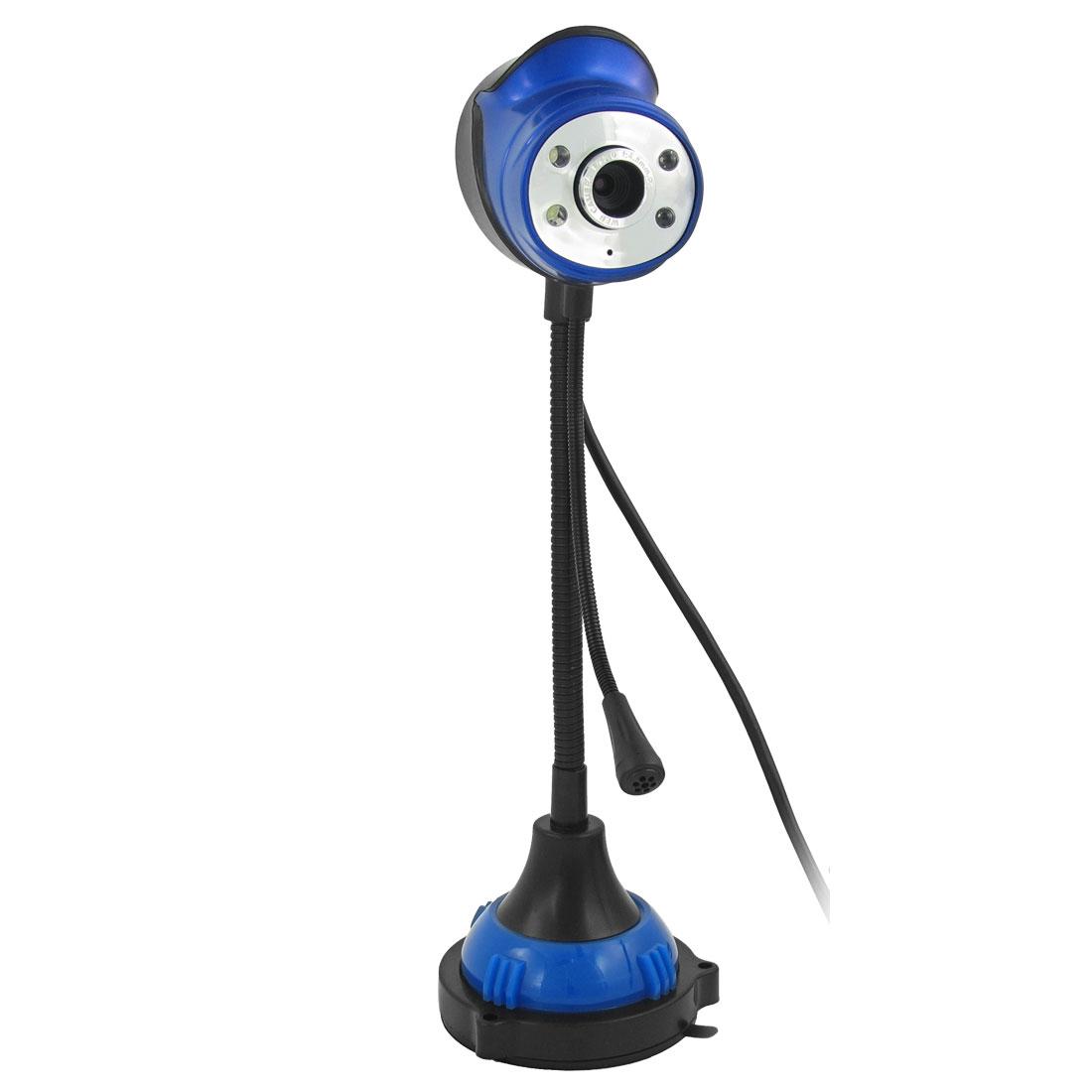 Flexible Neck 1.3 Mega Pixels USB 2.0 Mic 4 LED PC Camera Webcam Blue White