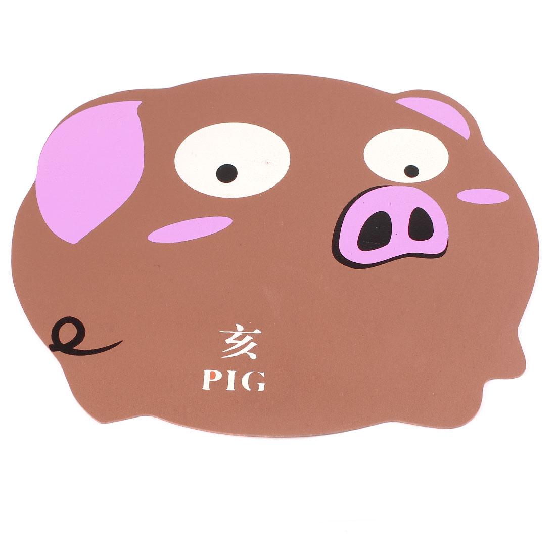 Desktop Chinese Zodiac Cartoon Pig Rubber Mouse Pad Mat Brown Pink