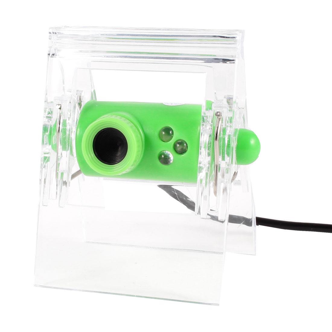 Clip on Design 640x480 3 LED Laptop Camera USB2.0 Webcam Green