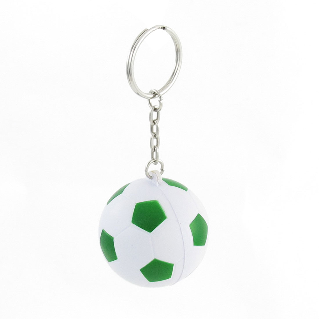 Green White Football Shape Sport Stress Ball Key Ring Phone Decor
