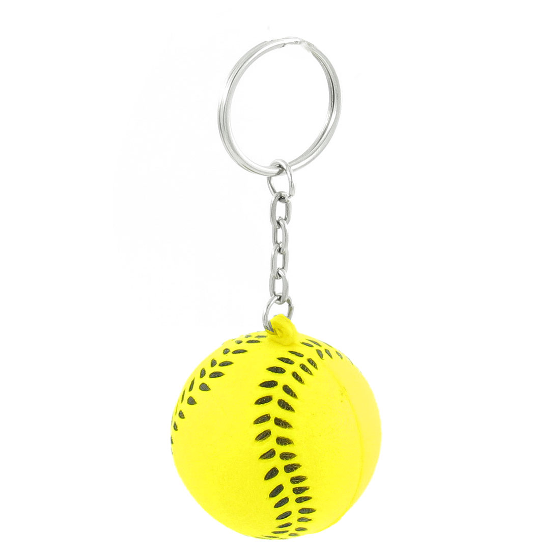 Black Yellow Baseball Shape Sport Stress Ball Key Ring Keychain Phone Decor