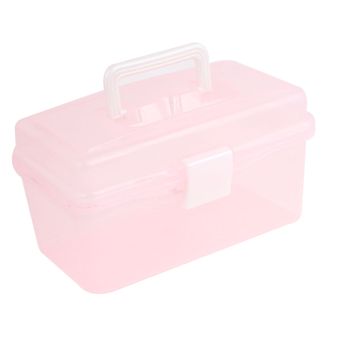 Pink Rectangular Shaped 2 Layers Tool Storage Box Case w Handle