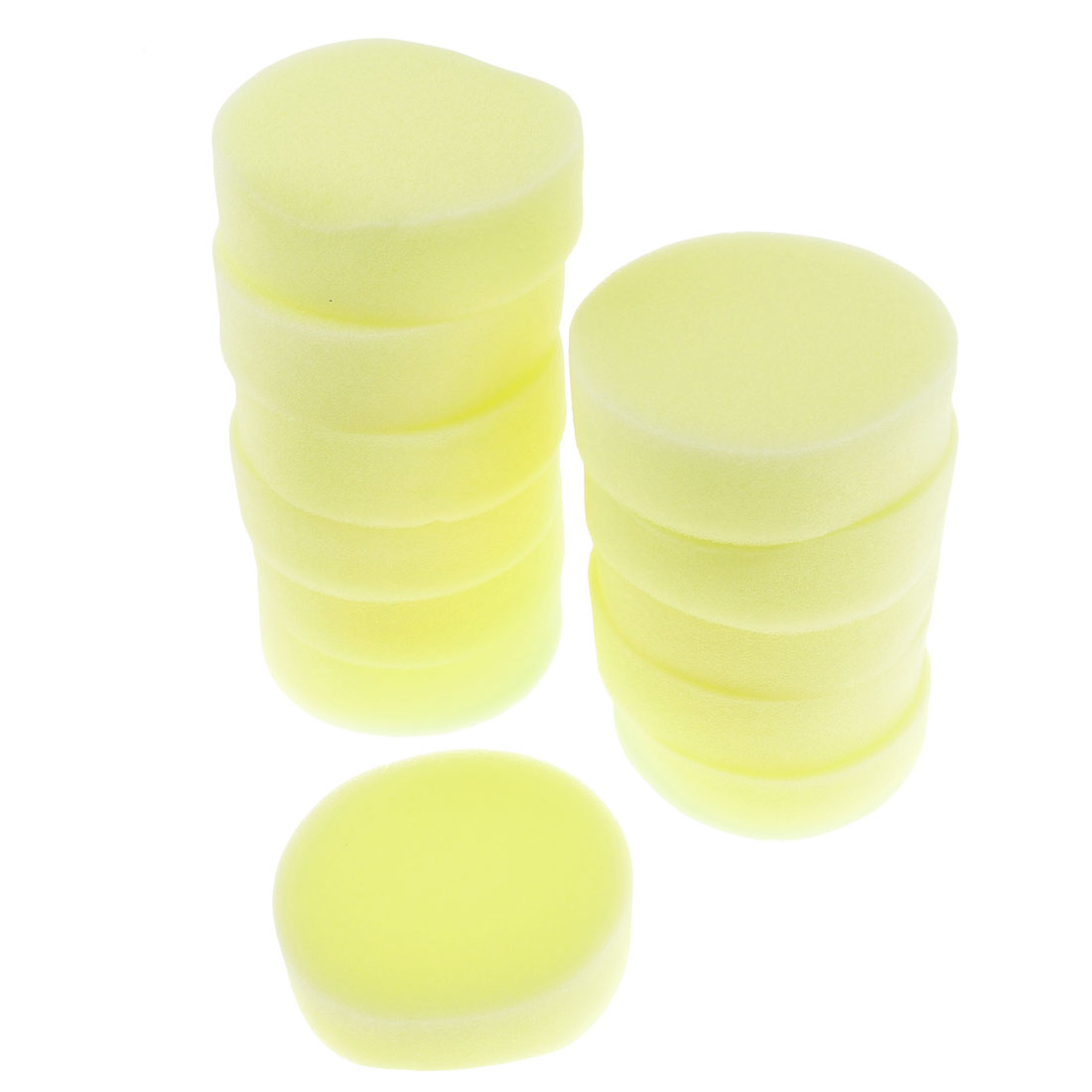 12PCS Light Yellow Round Soft Sponge Car Glass Washing Cleaning Pad Cushion