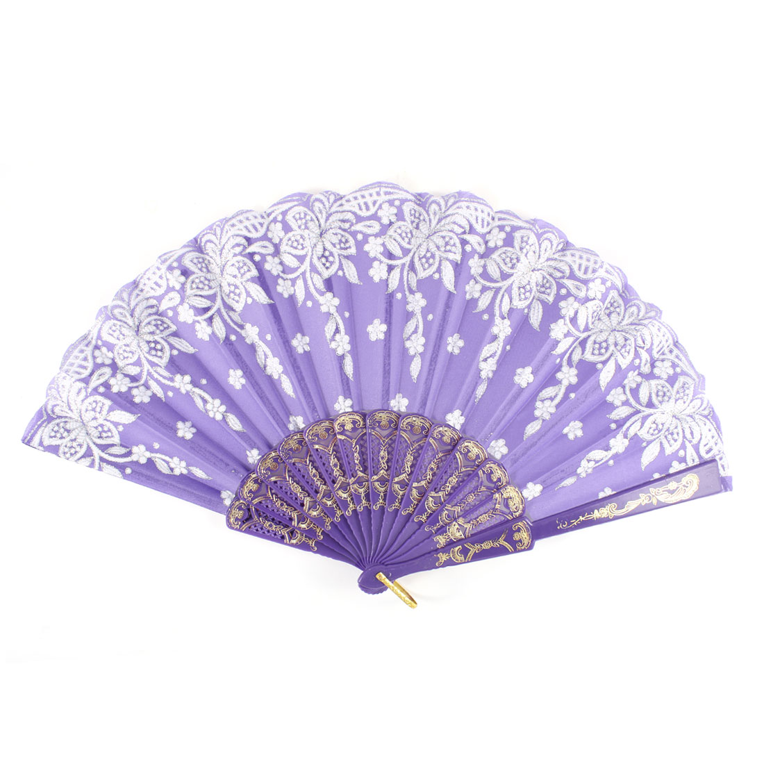 Shiny White Flower Pattern Plastic Frame Purple Folding Hand Fan