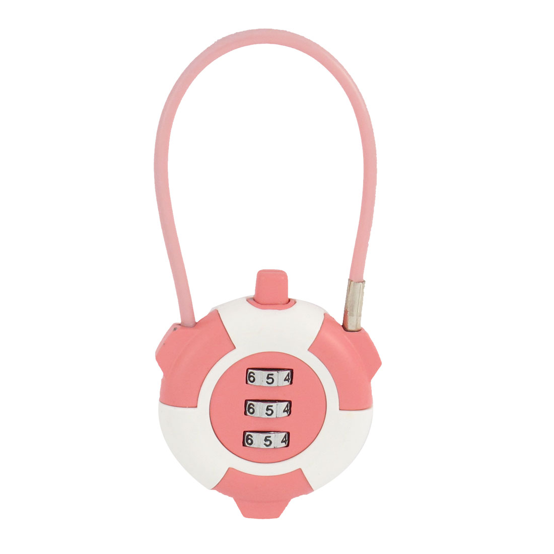 Peach Pinnk Metal 3 Dial Digit Combination Password Suitcase Code Lock Padlock