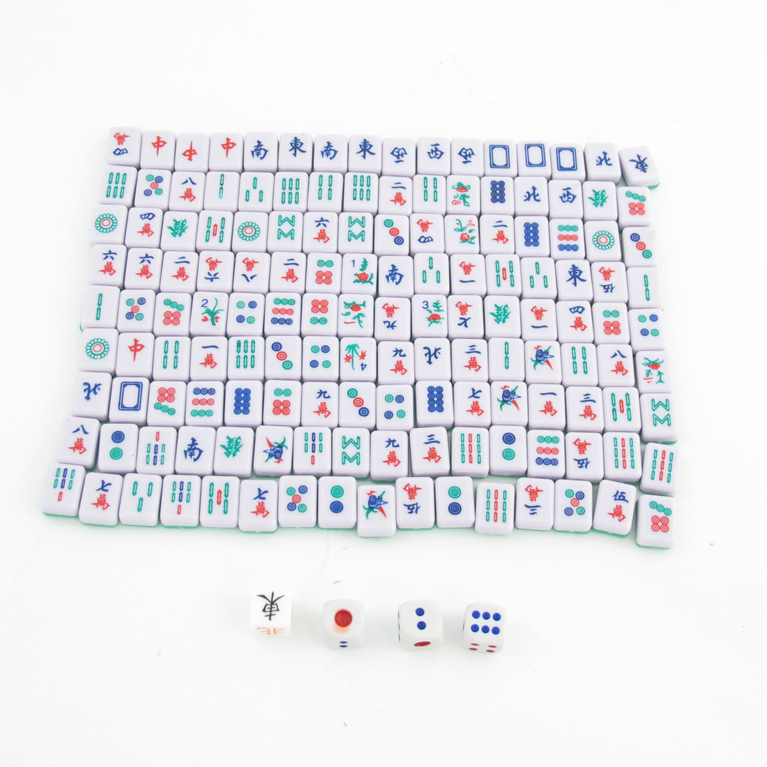 Portable Travel Green White Mini Chinese Mahjong Mah Jong Tile Set