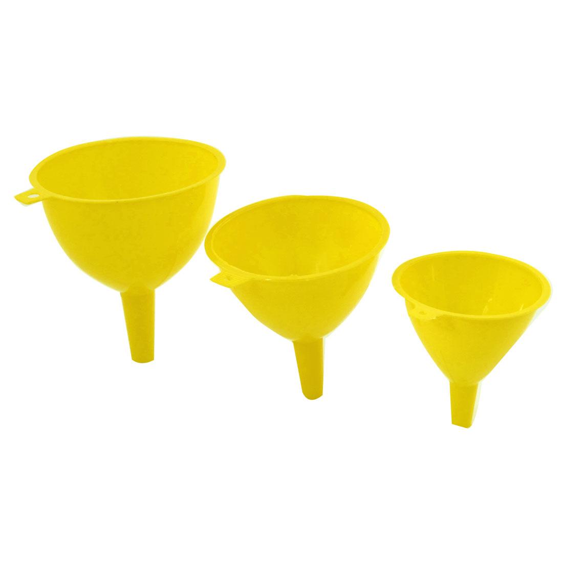 3 in 1 Kitchen Yellow Plastic 123mm 108mm 93mm Dia Water Oil Liquid Funnel Set