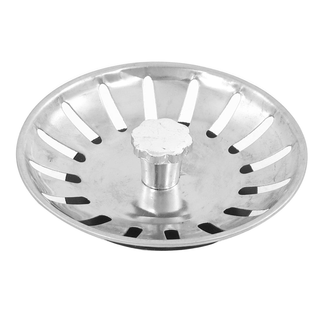Home Kitchen Metallic 83mm Diameter Water Sink Drainer Strainer Drain