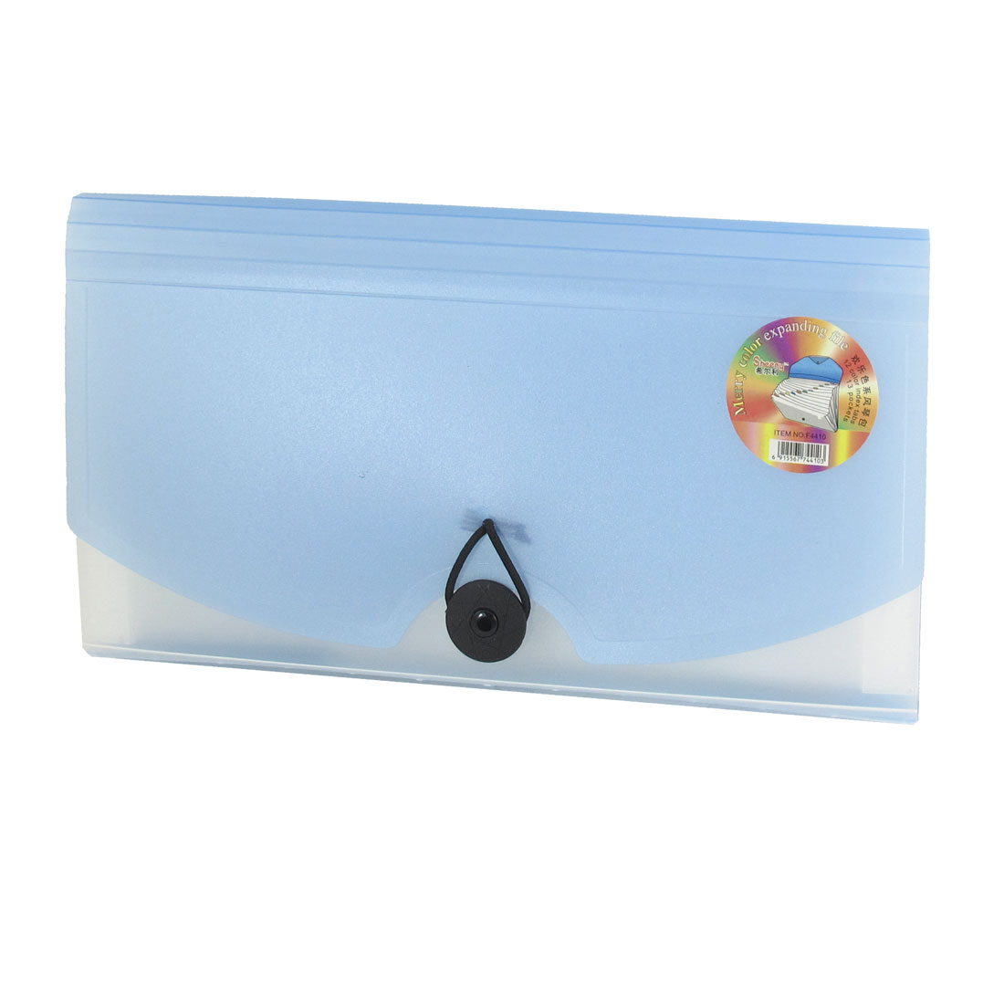 Portable Button Closoure Light Blue 13 Pocket Expanding File Holder Folder