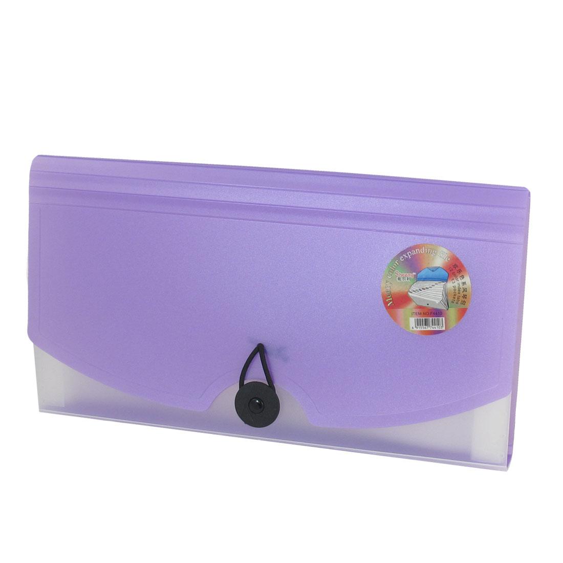 Portable Purple Plastic 13 Pockets Expanding File Holder Folder