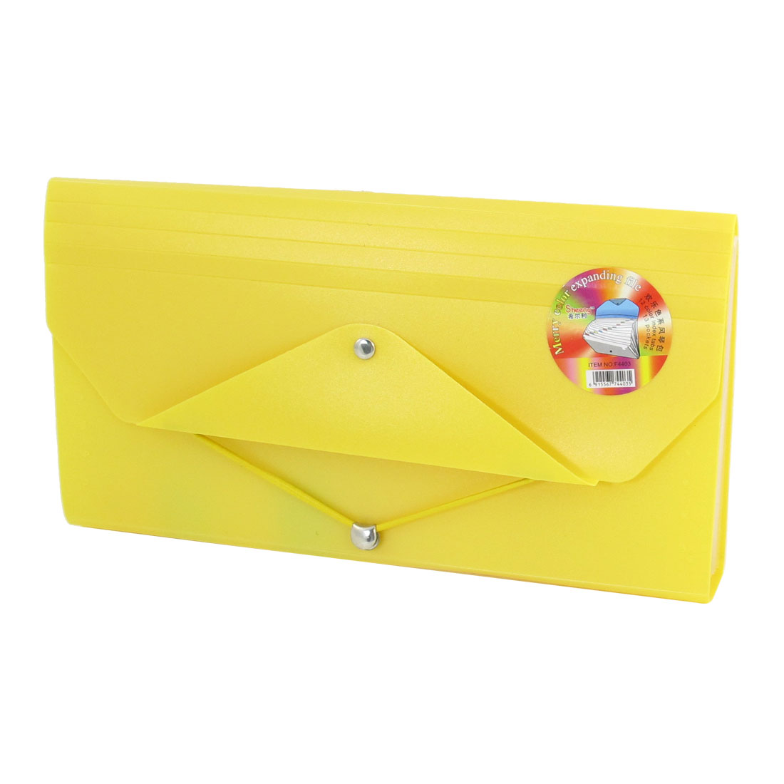 Portable Yellow Plastic 13 Sections Expandable Files Holder Folder