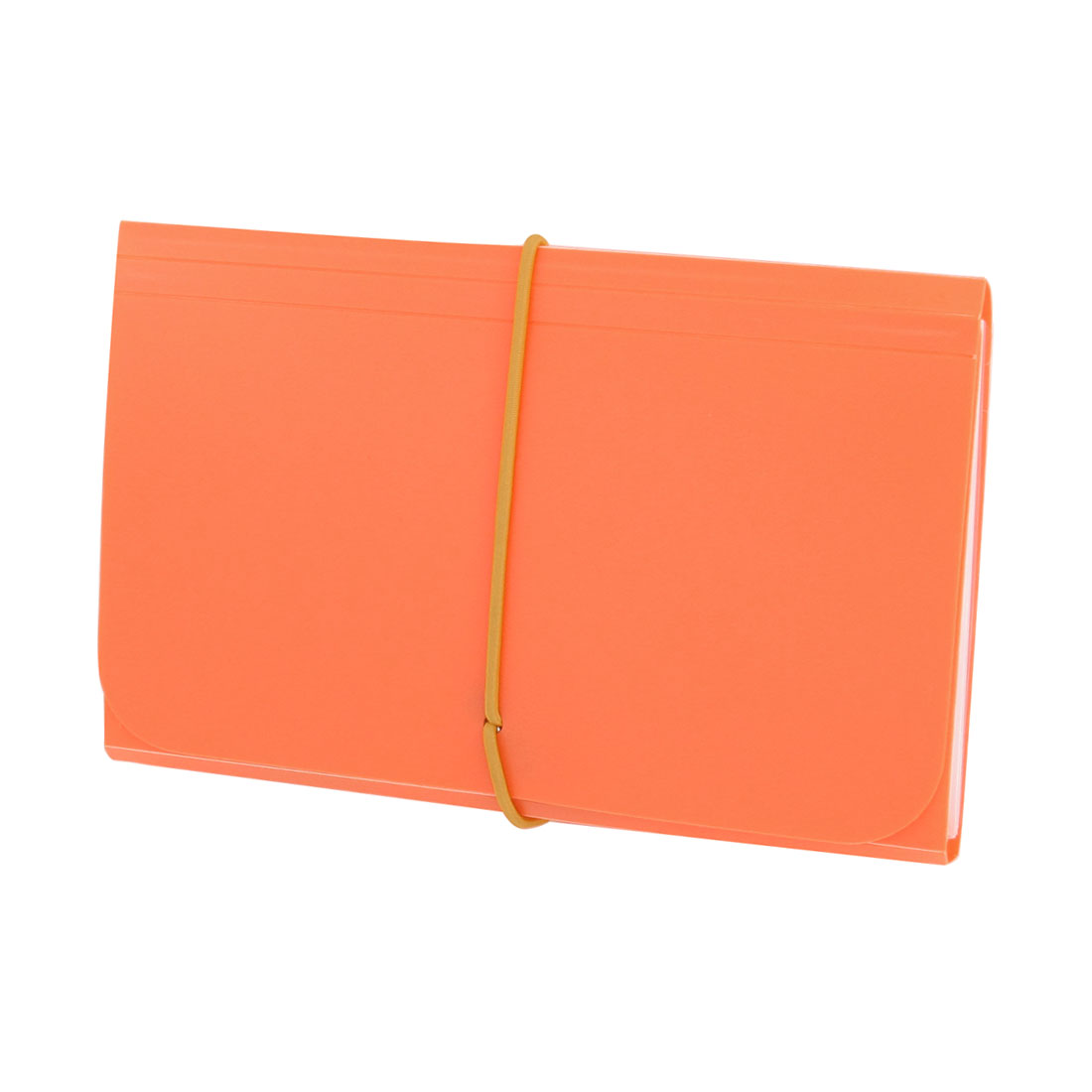 Orange Plastic Cover Elastic Strap 13 Pocket Document File Holder Folder