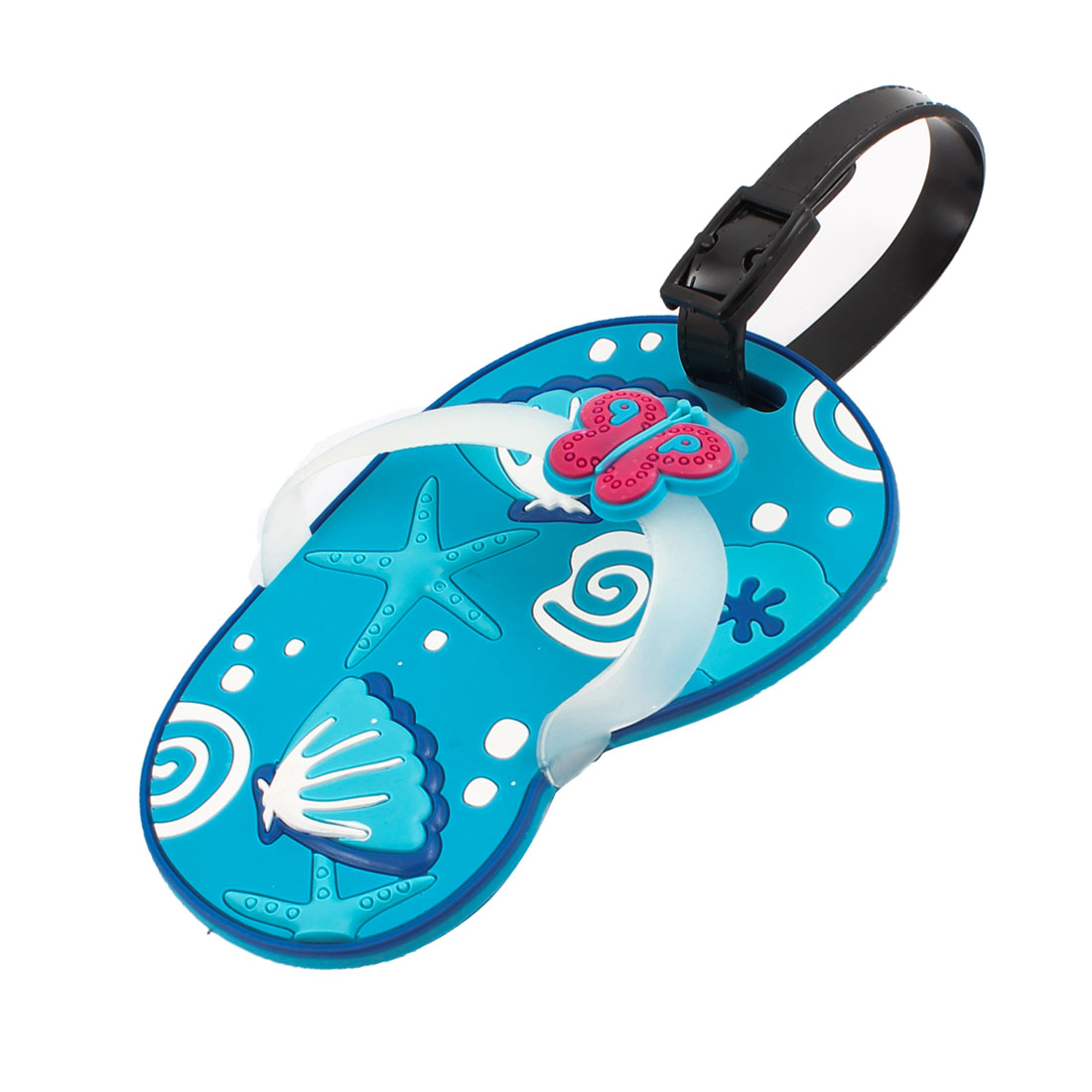 Blue Black Plastic Starfish Pattern Flip Flops Style Luggage Name Tag Label