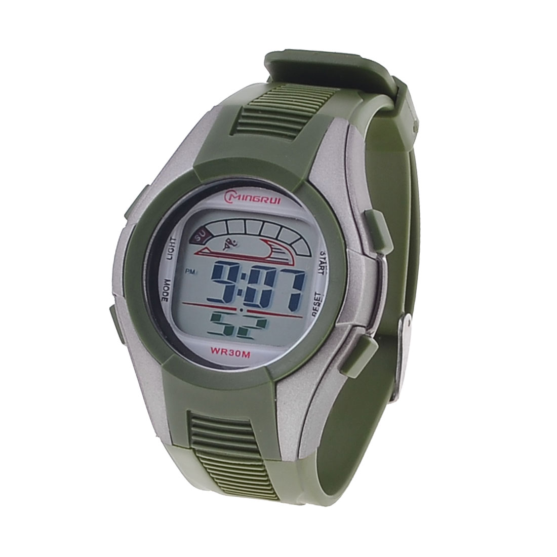 Army Green Adjustable Wristband Gray Dial Sport Running Standard Display Watch