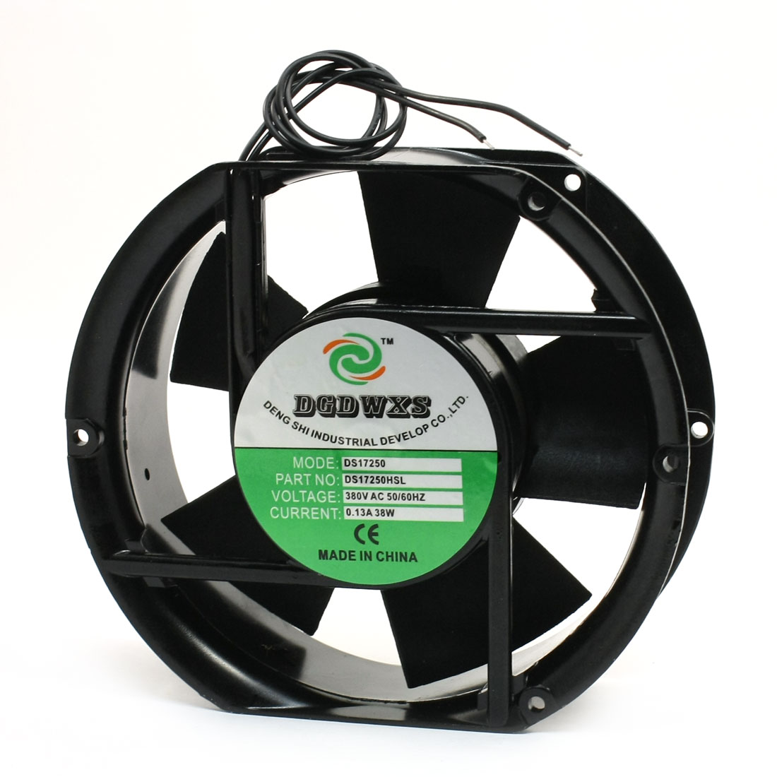 170mm x 150mm Wired Plastic Vane Metal Shell AC Axial Fan 380V 0.13A 38W