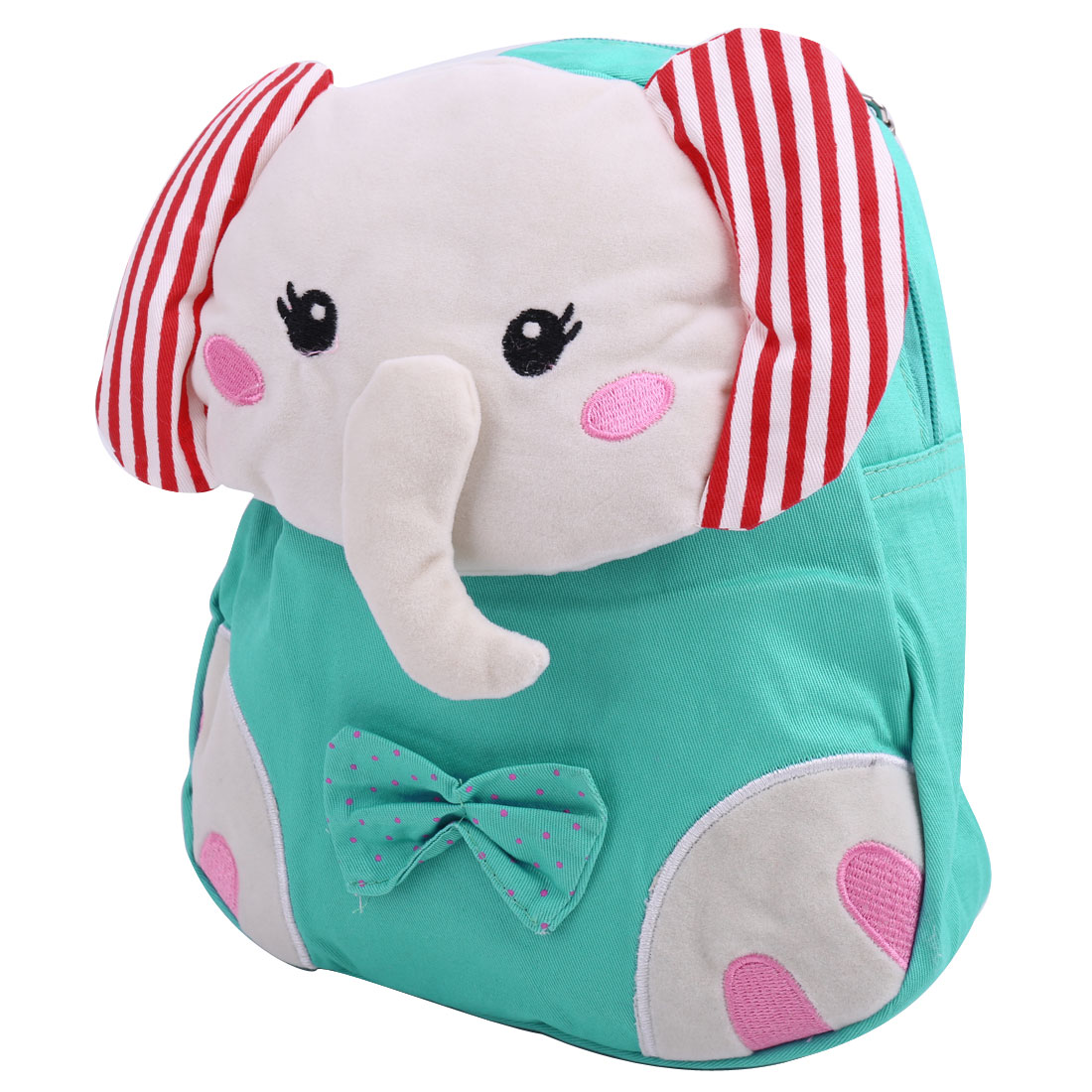 Pretty Aqua Color Solid Cartoon Elephant Canvas Backpack for Kids