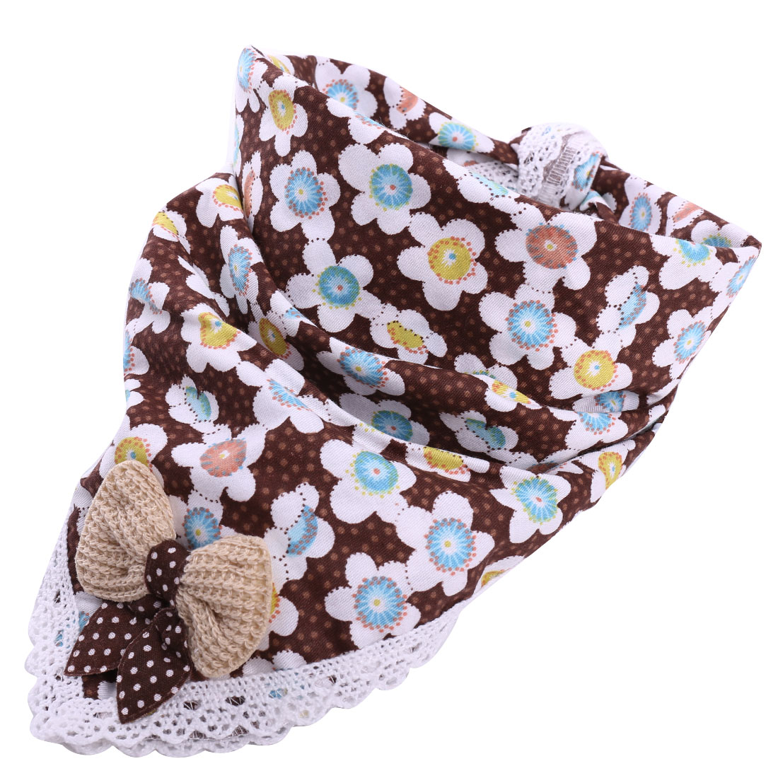 Sweet Flower Prints Brown Square Lunch Dinner Napkins for Kids