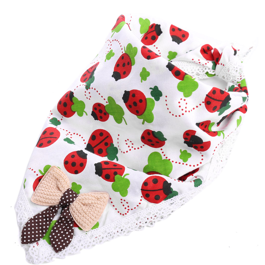 Babies Cartoon Ladybugs Crochet Hem Bowknot Decor Square Napkin White