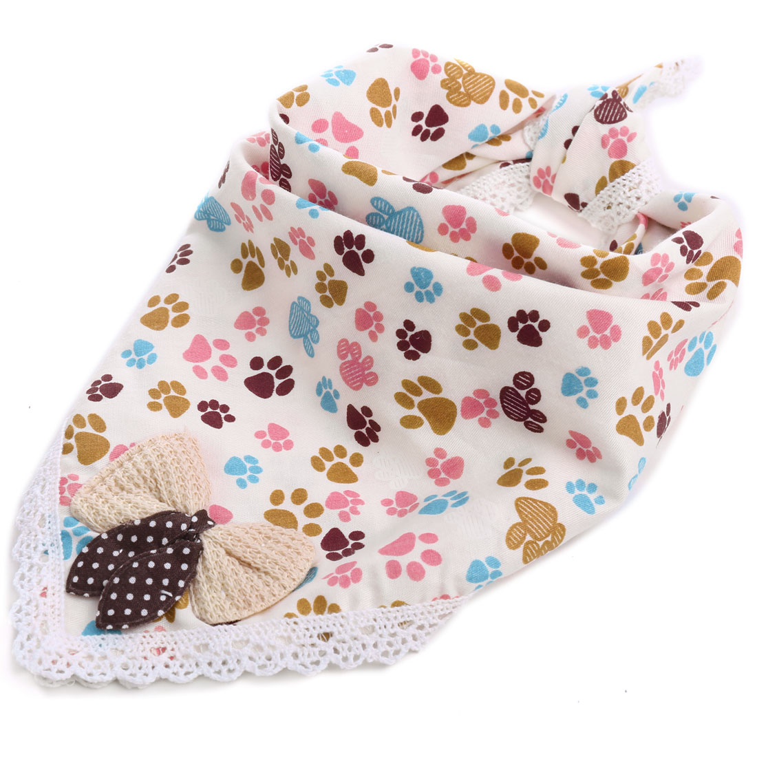 Baby Cartoon Dog Foot Prints Crochet Hem Bowtie Square Napkin Beige