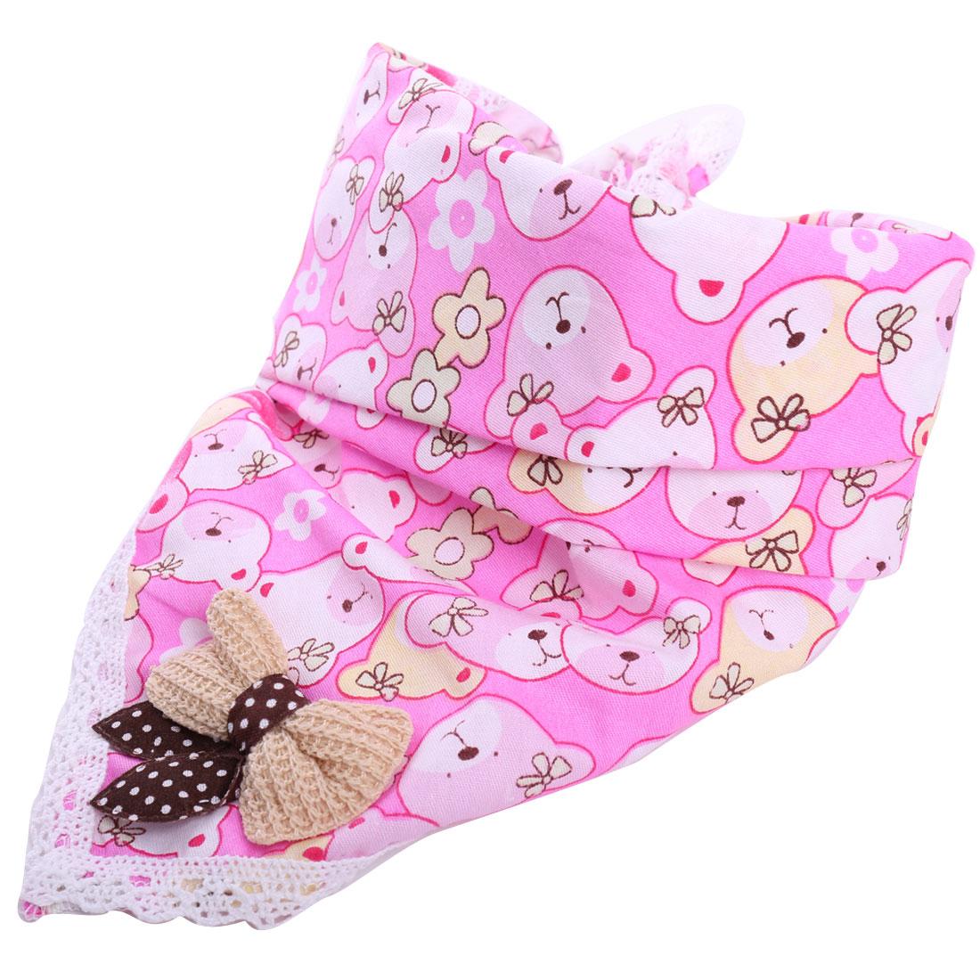 Baby Kids Cute Cartoon Bear Pattern Pink Square Napkins