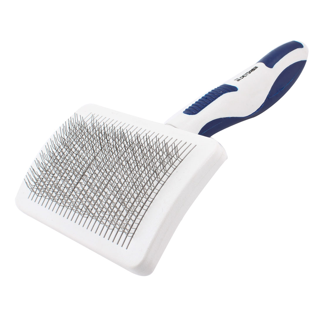 "White Blue Handle Metal Wire Dog Cat Hair Brush Comb Grooming Tool 8.3"" Long"