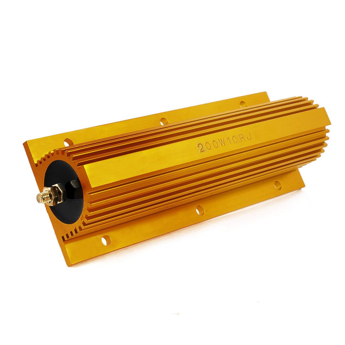 200W 10 Ohm 5% Resistance Aluminum Clad Resistor Gold Tone