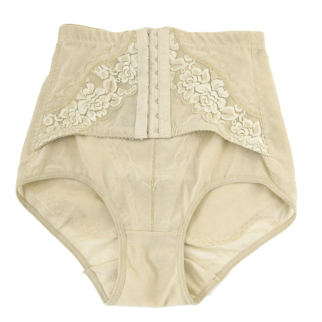Lace Flowers Detail Elastic Corset Underwear Brief Beige XS for Women