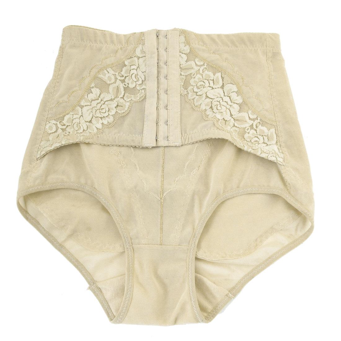 Lace Flowers Detail Elastic Corset Underwear Brief Beige XS for Women