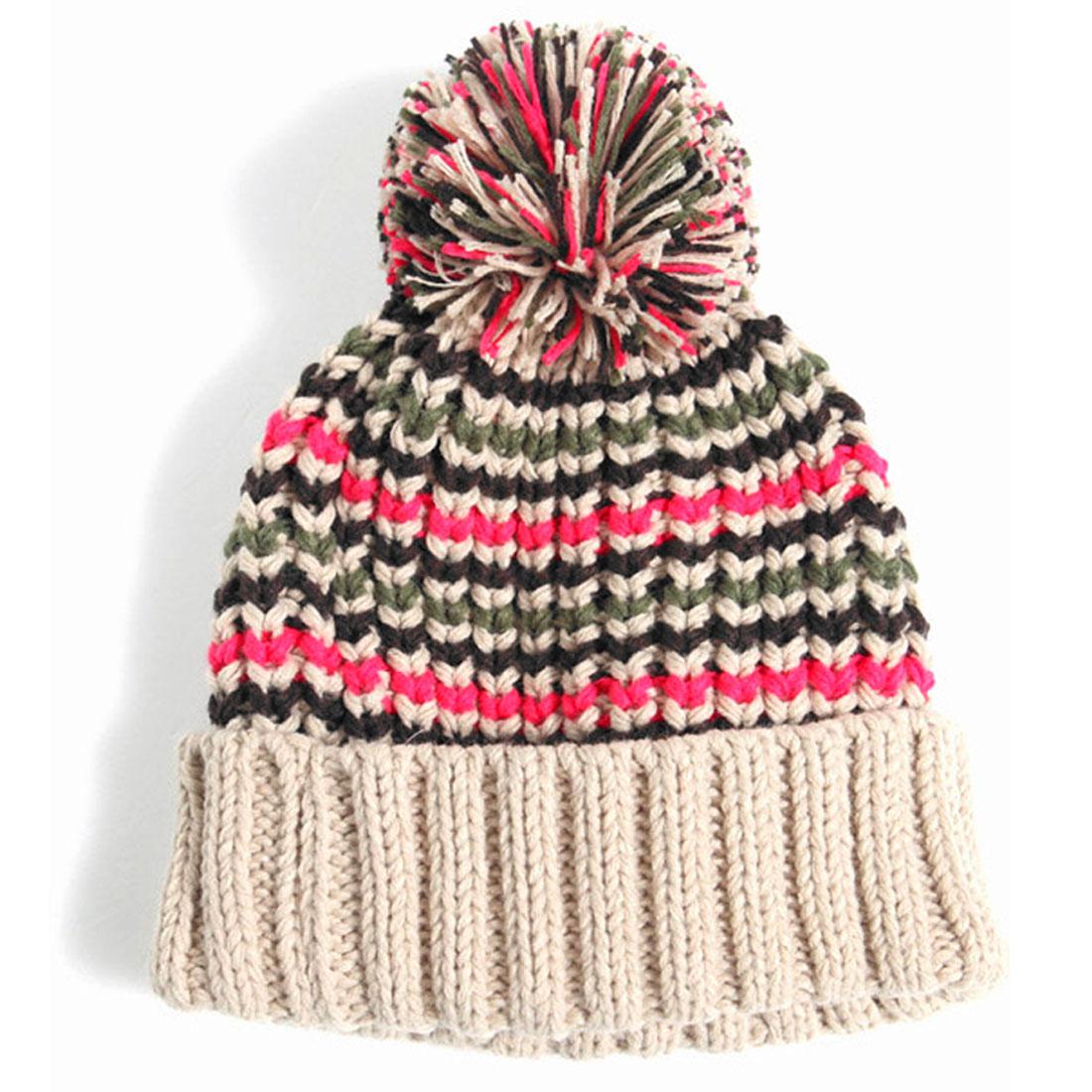 Multicolor Stripes Pom Pom Warm Soft Fashion Winter Knitted Hat For Men