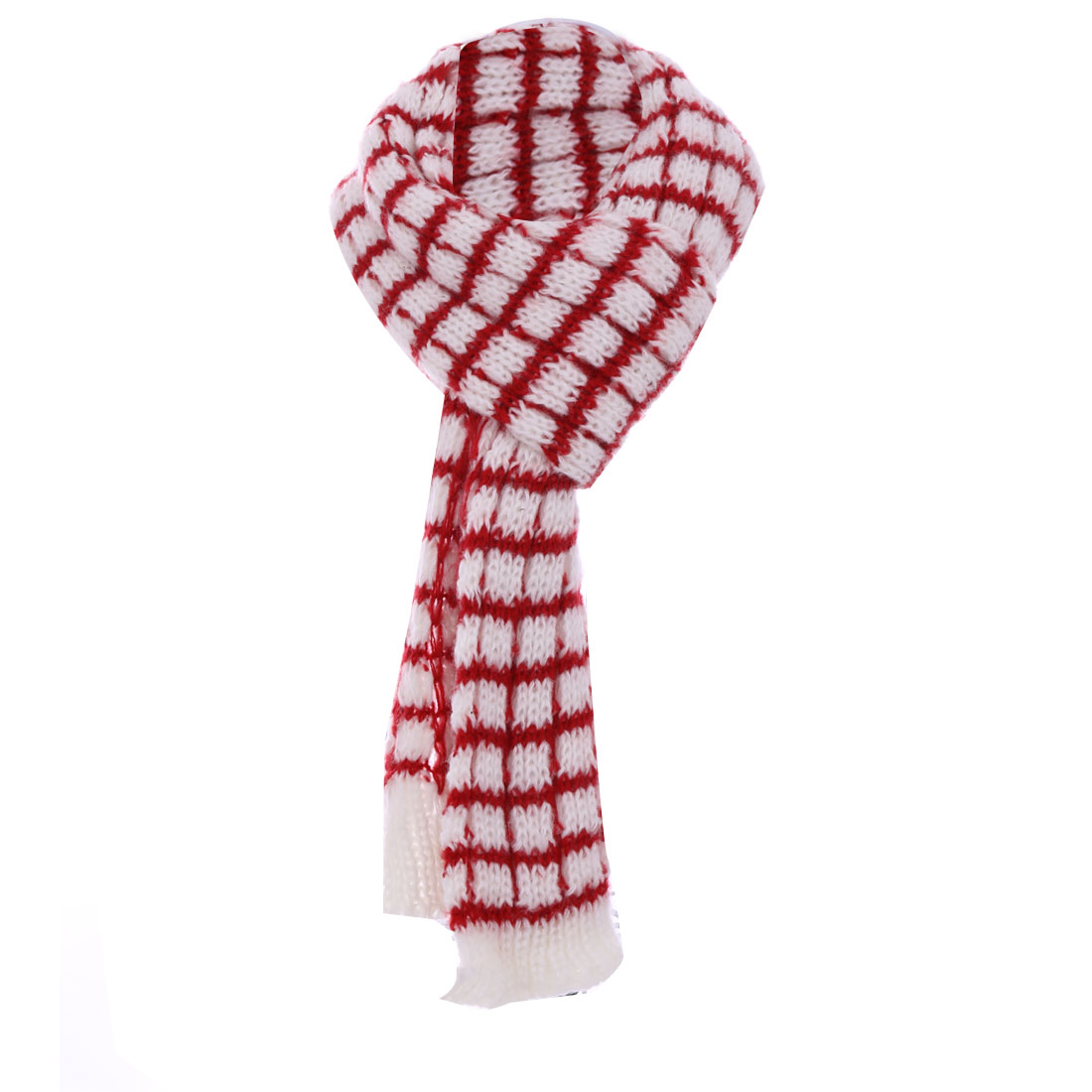 Men's Stylish White Base Red Plaids Winter Knitted Scarf