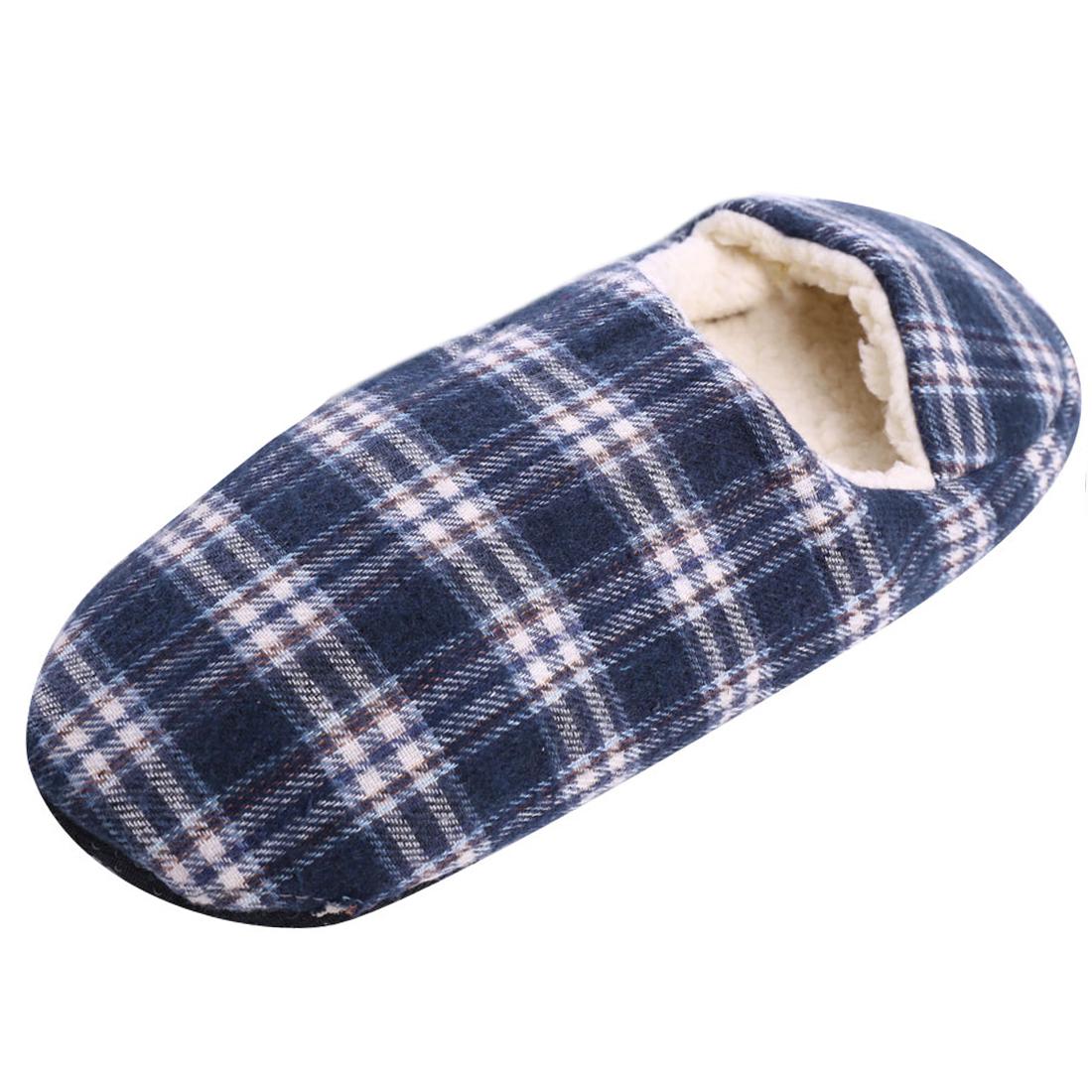 Men Plaids Upper Round Toe Color Block Fashion NEW Slippers Blue White US 8