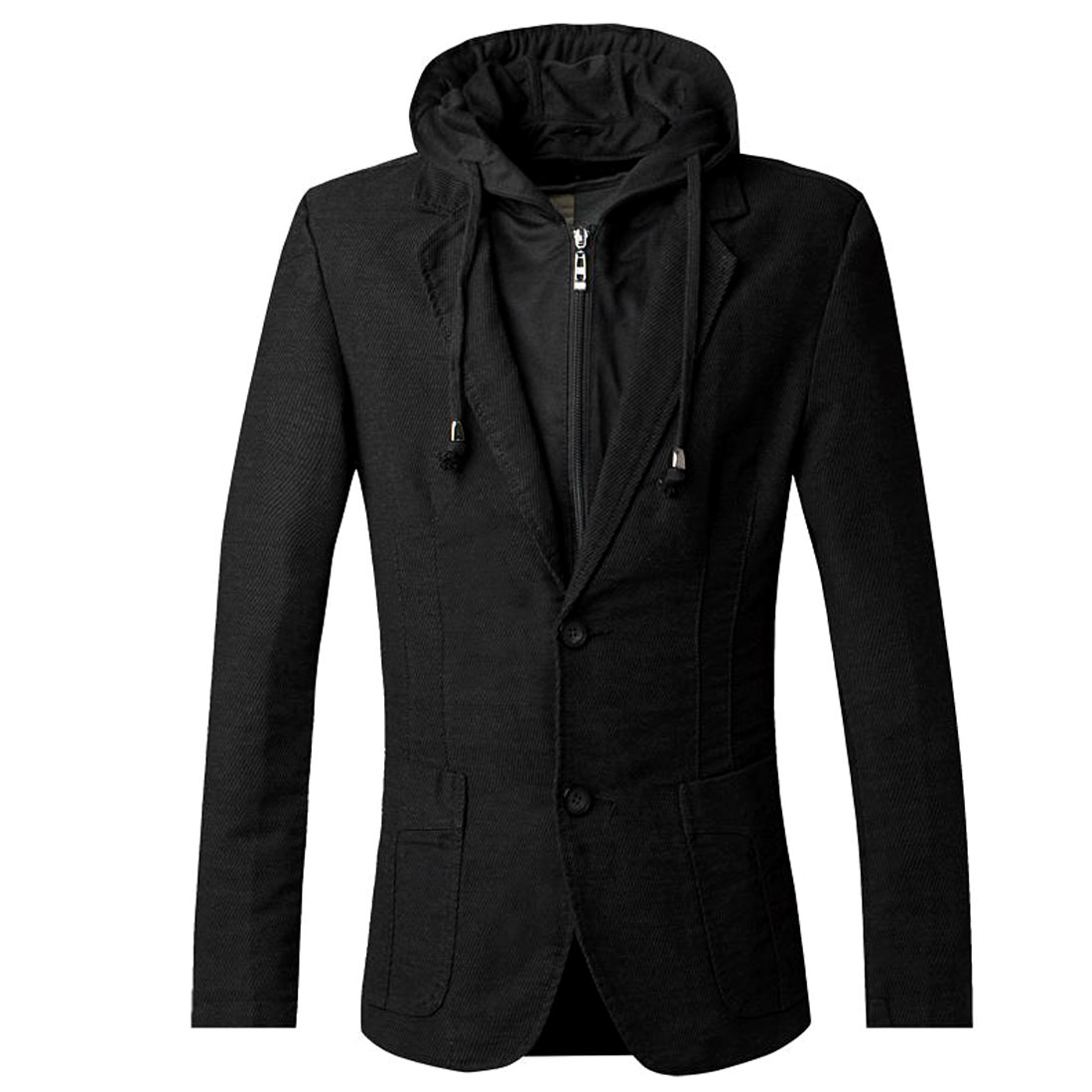 Men Hooded Two Button Closure Pockets Design Blazer Black S