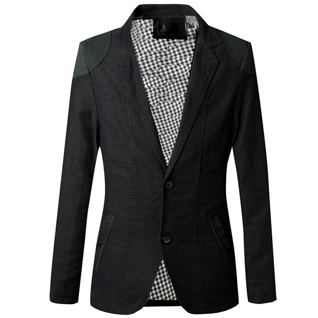 Men Two Button Long Sleeve Plaids Lining Panel Blazer Black S