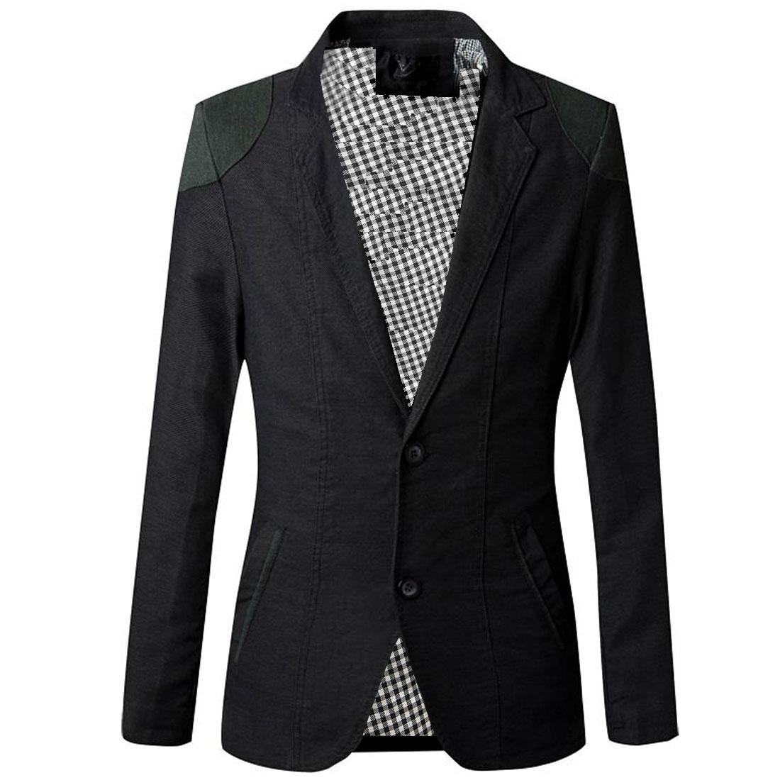 Men Two Button Long Sleeve Plaids Lining Panel Blazer Black S