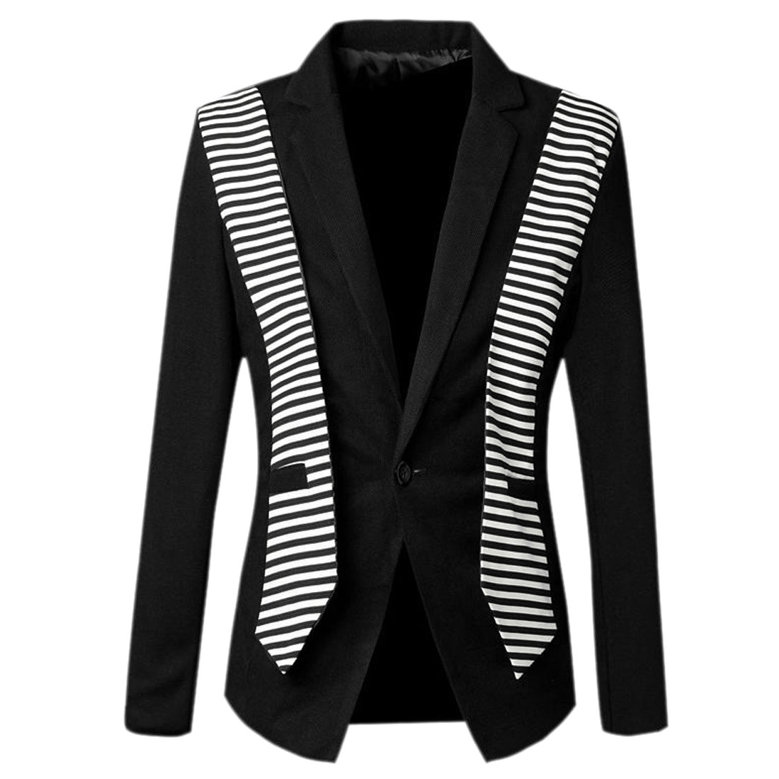 Men Peaked Lapel One Button Front Winter Blazer Black White S