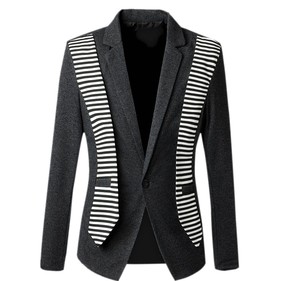 Men Peaked Lapel Long Sleeve Stripes Splice Blazer Dark Gray White S